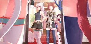 Rating: Safe Score: 60 Tags: animal_ears bicolored_eyes blue_eyes brown_hair catgirl final_fantasy final_fantasy_xiv gray_eyes gray_hair lili_mdoki long_hair miqo'te navel pink_eyes pink_hair short_hair skirt tail thighhighs watermark yellow_eyes User: SciFi
