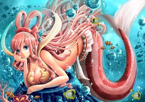 Rating: Safe Score: 253 Tags: animal blue_eyes breasts bubbles cleavage fish long_hair mermaid one_piece pink_hair shirahoshi tail underwater water yumiyokiak User: FormX