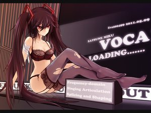 Rating: Questionable Score: 253 Tags: bra brown_hair eva200499 long_hair red_eyes thighhighs torn_clothes twintails underwear vocaloid zatsune_miku User: BoobMaster