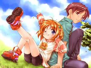 Rating: Safe Score: 22 Tags: bike_shorts blue_eyes brown_eyes brown_hair cameltoe clouds grass loli male orange_hair shorts sky suigetsu waha User: Oyashiro-sama