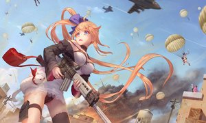 Rating: Questionable Score: 55 Tags: aircraft animal anthropomorphism aqua_eyes breasts building clouds combat_vehicle dress fal_(girls_frontline) fang five_seven_(girls_frontline) fnp-9_(girls_frontline) girls_frontline gun jay_xu long_hair orange_hair ponytail signed sky thighhighs weapon User: RyuZU