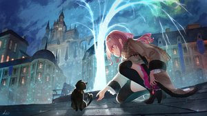 Rating: Safe Score: 96 Tags: animal bell blush boots building cat city clouds long_hair original pink_hair red_eyes saraki scarf signed skirt sky thighhighs User: BattlequeenYume