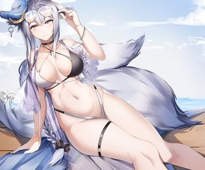 Rating: Safe Score: 146 Tags: animal_ears anthropomorphism azur_lane bikini foxgirl lubikaya1 mask multiple_tails sunglasses swimsuit tail tosa_(azur_lane) User: Fepple