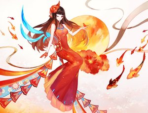 Rating: Safe Score: 69 Tags: animal bird bow breasts brown_hair chinese_clothes chinese_dress dress fish gloves long_hair moemoe3345 original red_eyes wink User: RyuZU