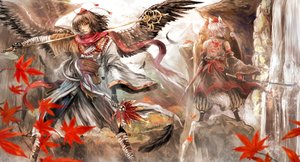Rating: Safe Score: 68 Tags: 2girls animal_ears autumn black_hair chama_(painter) feathers gloves inubashiri_momiji japanese_clothes katana leaves red_eyes shameimaru_aya short_hair spear sword tail touhou water waterfall weapon white_hair wings wink wolfgirl User: Flandre93