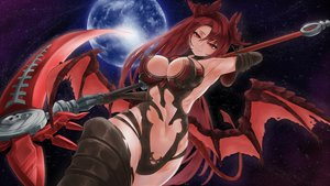 Rating: Safe Score: 91 Tags: breasts cleavage elbow_gloves epis_(king's_raid) gloves horns king's_raid long_hair navel night planet red_eyes red_hair sky stars tagme_(artist) tail thighhighs weapon wings User: BattlequeenYume
