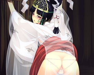 Rating: Questionable Score: 187 Tags: ass black_hair blush bondage butthole f-ism japanese_clothes miko murakami_suigun red_eyes see_through User: Wiresetc