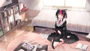 Rating: Safe Score: 12 Tags: animal animal_ears bed black_hair book cat catgirl dress drink paper sannio User: BattlequeenYume