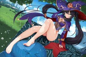 Rating: Safe Score: 25 Tags: barefoot damao_yu genshin_impact hat mona_megistus witch_hat User: FormX