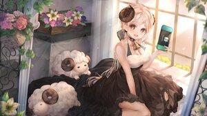 Rating: Safe Score: 54 Tags: animal bell blonde_hair collar dress flowers game_console long_hair original ponytail shalsqk sheep sheepgirl yellow_eyes User: BattlequeenYume