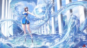 Rating: Safe Score: 141 Tags: blue blue_eyes brown_hair choker gloves necklace nightmadness original short_hair water User: FormX