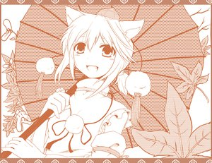Rating: Safe Score: 18 Tags: animal_ears hat inubashiri_momiji japanese_clothes leaves monochrome nejime short_hair touhou umbrella wolfgirl User: Xtea