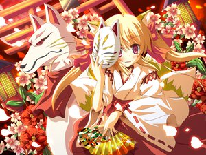Rating: Safe Score: 33 Tags: animal_ears fan fang flowers foxgirl japanese_clothes miko moon multiple_tails petals tagme tail torii User: w7382001