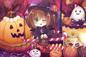 Rating: Safe Score: 20 Tags: animal bat blush book boots bow brown_hair cake candy cape chibi food green_eyes halloween hat original pumpkin ribbons short_hair suzune_rena tail wings wink witch_hat User: RyuZU