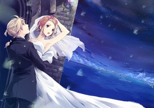 Rating: Safe Score: 95 Tags: blonde_hair blue_eyes kagamine_len kagamine_rin mayumelo night short_hair sky stars vocaloid wedding_dress User: FormX