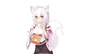 Rating: Safe Score: 25 Tags: animal_ears blush food genrou_mof inubashiri_momiji japanese_clothes red_eyes short_hair skirt tail touhou white white_hair wolfgirl User: otaku_emmy