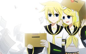 Rating: Safe Score: 6 Tags: aliasing blonde_hair blue_eyes bow flowers headphones kagamine_len kagamine_rin male short_hair vocaloid white User: TomomiSuzune