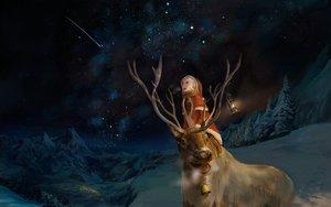 Rating: Safe Score: 194 Tags: animal christmas horns landscape night original scenic sky snow stars winter you_(shimizu) User: opai