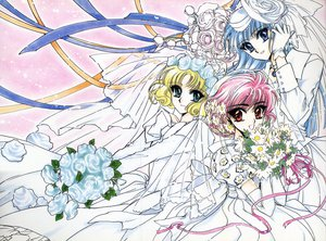 Rating: Safe Score: 5 Tags: clamp hoouji_fuu magic_knight_rayearth ryuuzaki_umi shidou_hikaru wedding wedding_attire User: Oyashiro-sama