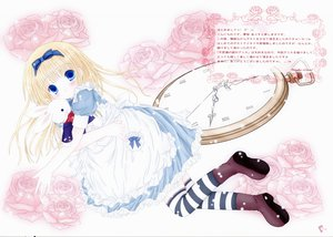 Rating: Safe Score: 20 Tags: alice_in_wonderland alice_(wonderland) blonde_hair blue_eyes bunny dress flowers loli mubi_alice scan thighhighs white User: Oyashiro-sama