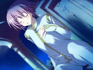 Rating: Safe Score: 9 Tags: blush favorite game_cg happy_margaret! kokonoka night purple_hair tsuwabuki_akira User: 秀悟