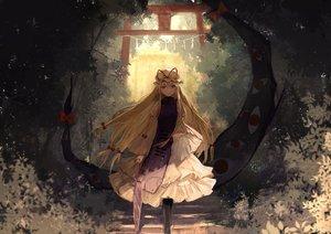 Rating: Safe Score: 110 Tags: blonde_hair brown_eyes dress forest hat long_hair thkani touhou tree umbrella yakumo_yukari User: mattiasc02