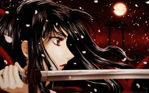 Rating: Safe Score: 59 Tags: aliasing animal bird black_hair blood-c close kisaragi_saya long_hair moon petals red_eyes sword vector weapon User: RyuZU