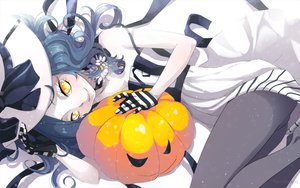 Rating: Safe Score: 164 Tags: blue_hair gloves halloween hat marmalade_(elfless_vanilla) original pantyhose pumpkin witch_hat yellow_eyes User: Flandre93