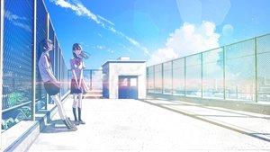 Rating: Safe Score: 30 Tags: 2girls black_hair bow building clouds kneehighs original rooftop seifuku shinobu_(kobanatu) short_hair skirt sky User: RyuZU