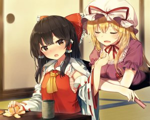 Rating: Safe Score: 29 Tags: 2girls black_hair blonde_hair blush brown_eyes cropped drink food fruit hakurei_reimu hat long_hair orange_(fruit) sarashi shinoba touhou yakumo_yukari User: RyuZU