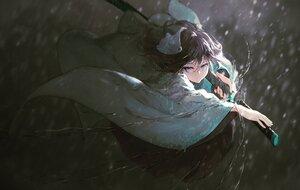 Rating: Safe Score: 35 Tags: blue_eyes japanese_clothes katana kimono kisei2 original purple_hair rain sword water weapon User: BattlequeenYume