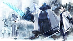 Rating: Safe Score: 99 Tags: animal armor barefoot crown horns long_hair penguin pixiv_fantasia pointed_ears purple_eyes snow sword tiara tori_otoko weapon white_hair wings wolf User: Dust