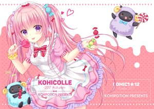 Rating: Safe Score: 33 Tags: animal blush bow candy cat_smile headdress heart kohinata_hoshimi lolita_fashion lollipop long_hair original pink_hair purple_eyes sheep skirt twintails watermark wristwear User: RyuZU