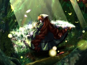 Rating: Safe Score: 8 Tags: butterfly flowers forest rozen_maiden suiseiseki tree User: Oyashiro-sama