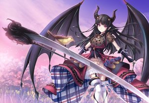 Rating: Safe Score: 83 Tags: animal bird black_hair boots braids cherry_blossoms clouds garter_belt horns long_hair pointed_ears purple_eyes scythe sky tenmaso tree weapon wings User: RyuZU