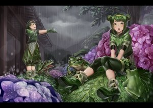 Rating: Safe Score: 64 Tags: animal boots clouds frog gloves goggles green_eyes green_hair headband hoodie leaves original rain ryota_(ry_o_ta) tree water wet User: Flandre93