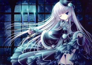 Rating: Questionable Score: 135 Tags: blush goth-loli lolita_fashion original panties scan skirt skirt_lift thighhighs tinkle underwear wink User: Tensa