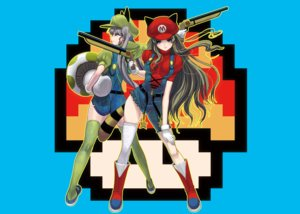 Rating: Safe Score: 127 Tags: 2girls animal_ears blue_eyes boots gray_hair gun hat long_hair masao parody super_mario thighhighs twintails weapon User: noitis