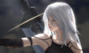 Rating: Safe Score: 545 Tags: aqua_eyes long_hair nier nier:_automata sword weapon white_hair wlop yorha_unit_no._2_type_a User: RyuZU