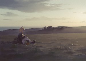 Rating: Safe Score: 47 Tags: animal_ears anthropomorphism azur_lane drink grass landscape rias-coast scenic sunset warspite_(azur_lane) User: FormX