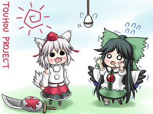 Rating: Safe Score: 19 Tags: animal_ears aonagi_ibane chibi hat inubashiri_momiji reiuji_utsuho sword tail touhou weapon wings wolfgirl User: SciFi