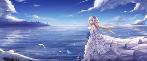 Rating: Safe Score: 61 Tags: ain animal anthropomorphism bird blonde_hair blue_eyes building clouds dress elbow_gloves flowers gloves lexington long_hair rose sky water wedding_attire zhanjian_shaonu User: BattlequeenYume