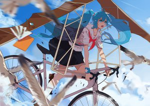 Rating: Safe Score: 70 Tags: animal bicycle bird book clouds hatsune_miku kneehighs school_uniform sky tears vocaloid xiayu93 User: FormX