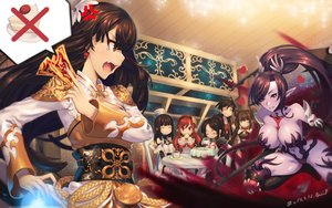 Rating: Safe Score: 75 Tags: breast_hold breasts brown_eyes brown_hair cleavage drink dungeon_and_fighter ecell elbow_gloves food gloves headband long_hair navel ofuda pointed_ears red_eyes red_hair tears thighhighs twintails wink User: RyuZU