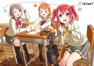 Rating: Safe Score: 22 Tags: aqua_eyes bow braids brown_hair kurosawa_ruby love_live!_school_idol_project love_live!_sunshine!! orange_hair paper red_hair seifuku shiokazunoko short_hair skirt takami_chika twintails watanabe_you wink User: RyuZU