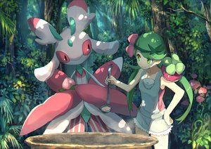 Rating: Safe Score: 55 Tags: forest green_eyes green_hair long_hair lurantis mao_(pokemon) pippi_(p3i2) pokemon shorts tree twintails User: RyuZU