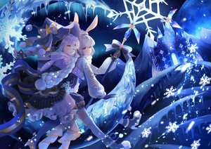 Rating: Safe Score: 48 Tags: 2girls animal_ears bow building bunny_ears gloves gray_hair hat long_hair lushuao original ponytail red_eyes scarf staff wink winter yellow_eyes User: BattlequeenYume