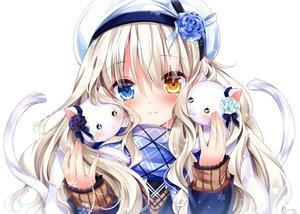 Rating: Safe Score: 155 Tags: animal bicolored_eyes blonde_hair blush bow cat close hat long_hair nogi_takayoshi original ribbons scarf snow waifu2x User: otaku_emmy