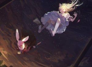 Rating: Safe Score: 73 Tags: alice_in_wonderland alice_(wonderland) blonde_hair bunny clouds coaoto dress kneehighs night stars white_rabbit User: mattiasc02