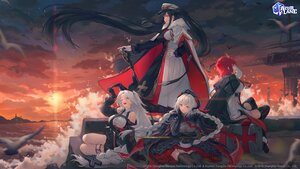 Rating: Safe Score: 47 Tags: animal anthropomorphism azur_lane bibimbub bird black_hair cape clouds elbow_gloves gloves gray_hair group hat horns logo long_hair nurnberg_(azur_lane) peter_strasser_(azur_lane) prinz_heinrich_(azur_lane) red_hair short_hair sky thighhighs twintails uniform water weser_(azur_lane) User: Nepcoheart